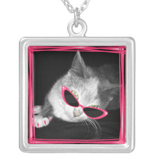 Cat With Pink Sunglasses & Claws Necklace