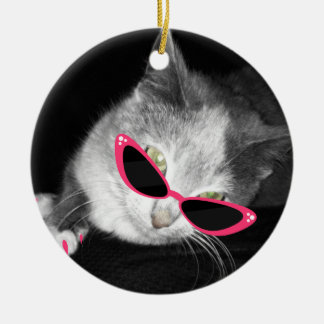 Cat With Pink Sunglasses & Claws Ornament