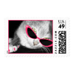 Cat With Pink Sunglasses & Claws Postage