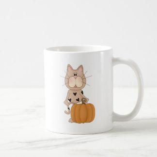 Cat with Pumpkin Mugs