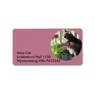 Cat with purple tulips-circle label