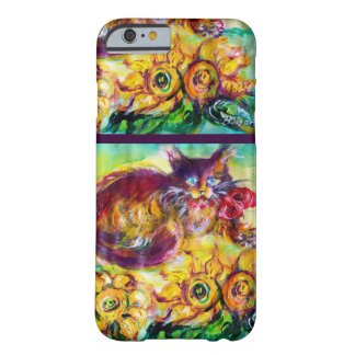CAT WITH RED RIBBON AND SUNFLOWERS BARELY THERE iPhone 6 CASE