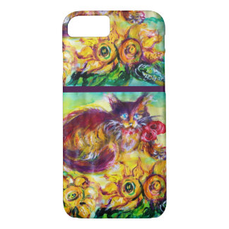 CAT WITH RED RIBBON AND SUNFLOWERS iPhone 8/7 CASE
