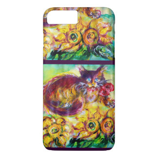 CAT WITH RED RIBBON AND SUNFLOWERS iPhone 8 PLUS/7 PLUS CASE