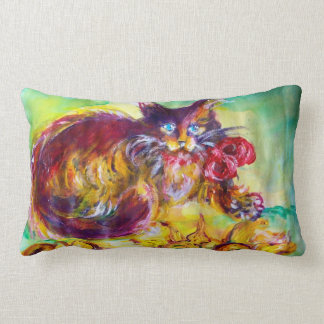 CAT WITH RED RIBBON AND SUNFLOWERS LUMBAR PILLOW
