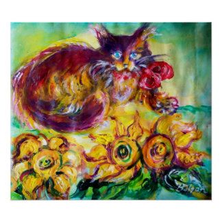 CAT WITH RED RIBBON AND SUNFLOWERS POSTER