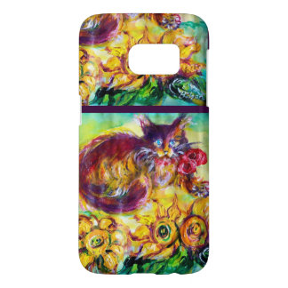 CAT WITH RED RIBBON AND SUNFLOWERS SAMSUNG GALAXY S7 CASE