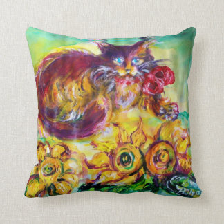 CAT WITH RED RIBBON AND SUNFLOWERS THROW PILLOW