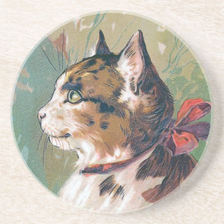 Cat with Red Ribbon Vintage Illustration Beverage Coasters