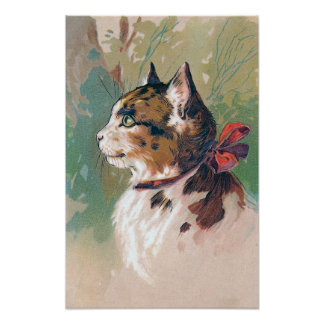 Cat with Red Ribbon Vintage Illustration Poster