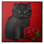 Cat with Red Rose Geboortetegeltje