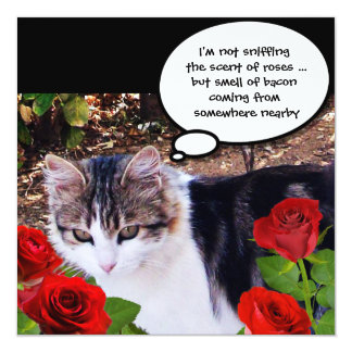 CAT WITH RED ROSES BACON BRUNCH PARTY 5.25X5.25 SQUARE PAPER INVITATION CARD