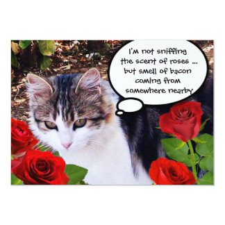 CAT WITH RED ROSES BACON BRUNCH PARTY 5X7 PAPER INVITATION CARD