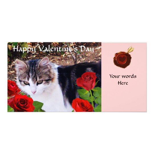 CAT WITH RED ROSES CARD