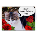 CAT WITH RED ROSES,FATHER'S DAY GREETING CARDS