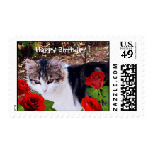 CAT WITH RED ROSES Happy Birthday Postage Stamps