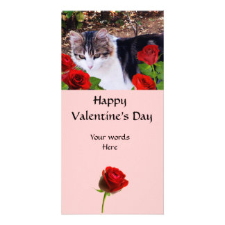 CAT WITH RED ROSES PHOTO CARD