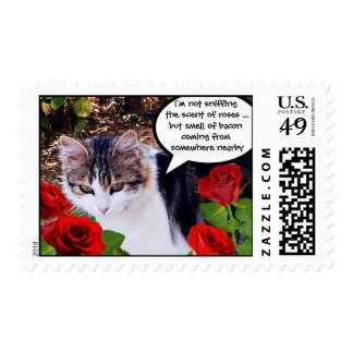 CAT WITH RED ROSES POSTAGE STAMP