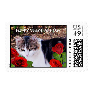 CAT WITH RED ROSES Valentine's Day Postage Stamp