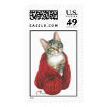 Cat with Red Yarn Postage Stamp