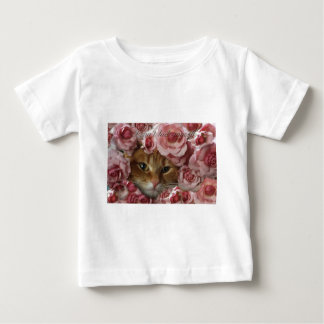 cat with roses catlover gifts baby T-Shirt