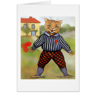 Cat with Roses Valentine Card