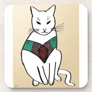 Cat with Ruby Collar Beverage Coasters