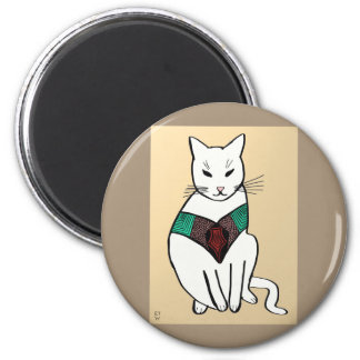 Cat with Ruby Collar Magnet
