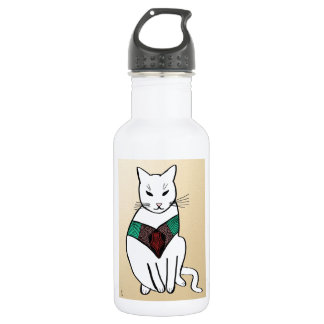 Cat with Ruby Collar 18oz Water Bottle