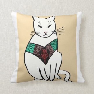 Cat with Ruby Collar Pillow