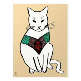 Cat with Ruby Collar Postcard