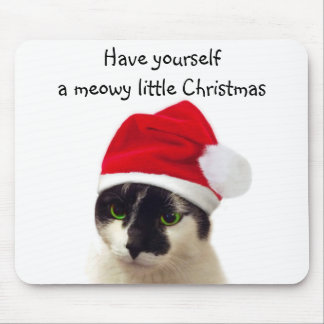 Cat with Santa's Hat Mouse Pad