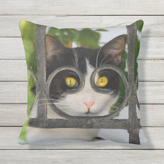 Cat with Spectacles Frame Funny - for Outside Throw Pillow