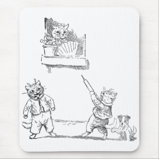 Cat With Squirt Vintage Louis Wain Mouse Pad