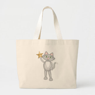 Cat with star tote bags