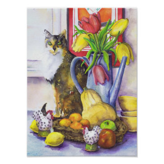 Cat With Still Life - Paper Posters