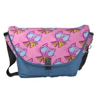 Cat with sun glasses blue/pink messenger bag