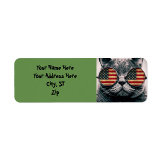 Cat with sunglasses - american flag label