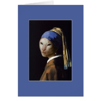 Cat with the Pearl Earring Greeting Card