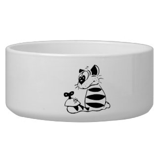 Cat with Toy Mouse Dog Water Bowl