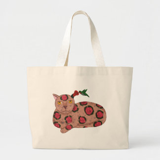 Cat with Trumpet Flower Ear & Hummingbird Tote Bag