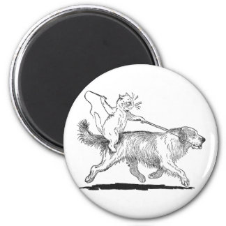 Cat With Trusty Dog Steed 2 Inch Round Magnet