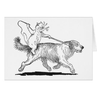 Cat With Trusty Dog Steed Card