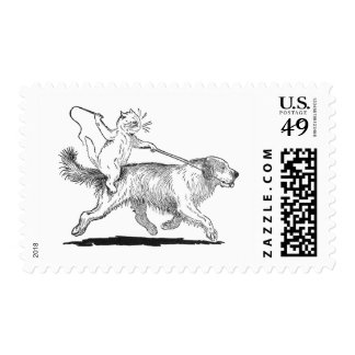 Cat With Trusty Dog Steed Stamp