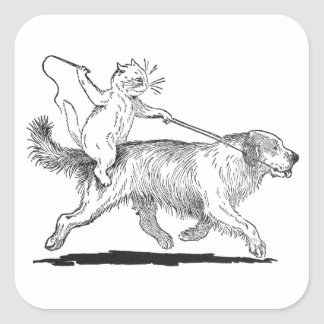 Cat With Trusty Dog Steed Square Sticker
