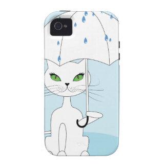 Cat with Umbrella Vibe iPhone 4 Case