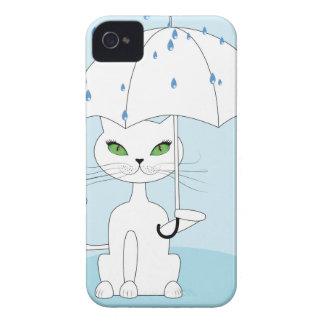 Cat with Umbrella iPhone 4 Covers