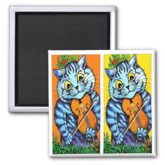 Cat With Violin by Louis Wain 2 Inch Square Magnet