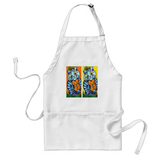 Cat With Violin Duo by Louis Wain Standard Adult Apron