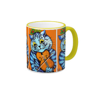 Cat With Violin by Louis Wain Cup Ringer Coffee Mug